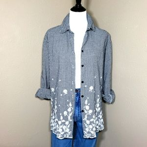 Vtg 90s Gingham Floral Embroidery Shirt Medium